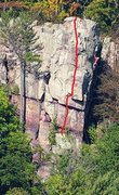Rock Climbing Photo: Climber on Son of Great Chemney Direct, Red line D...