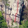 Climber on Son of Great Chemney Direct,<br> Red line Dance of the Ghost Psamead,