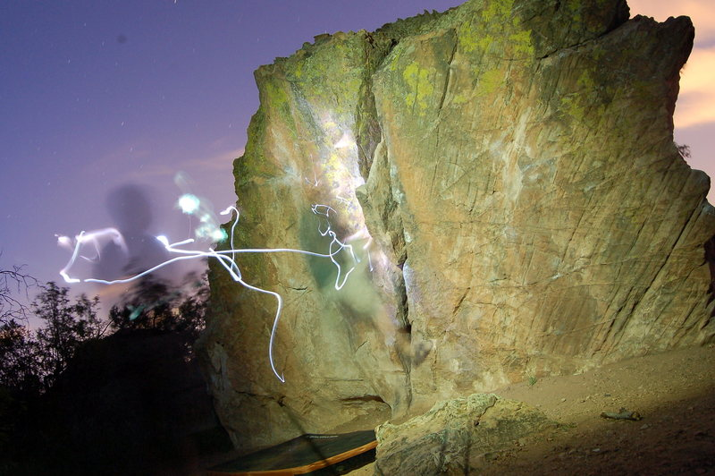 Night shot of the Arch Boulder.