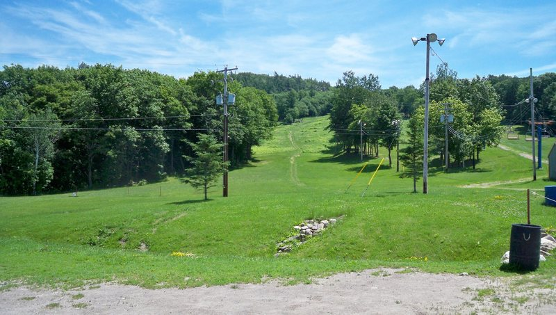 Parking area at base of Rigaud, cliff face is up on the left, follow the hiking trail in the far left ski run. The trail uphill is also used by hikers and dog walkers.
