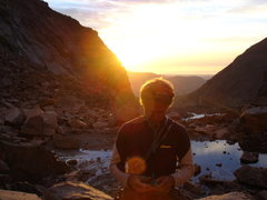 Rock Climbing Photo: Chris Harkness racking up on Mills Glacier.  Photo...