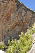 Rock Climbing Photo: You can see the bolts on the route on this overhan...