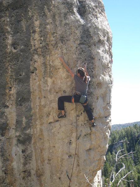 Rock Climbing Photo: Janelle entering the crux.