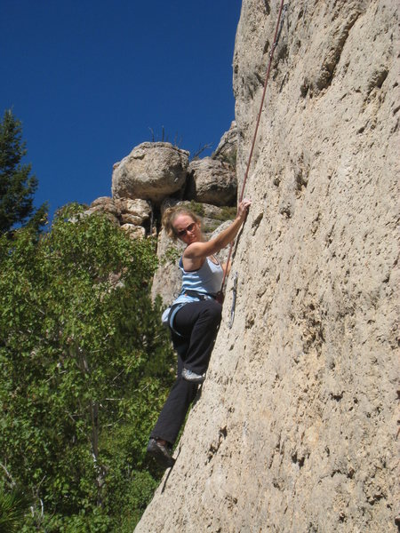 Rock Climbing Photo: Starting up the unpleasant slab.