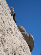 Rock Climbing Photo: Enjoying the fun slab while Cowboy King looms behi...