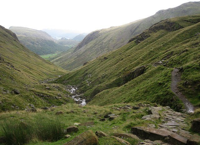 Looking down Grains Ghyll To the Borrowdale Valley