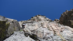 Rock Climbing Photo: Pitch 3. After pitch 2, move around a corner on th...