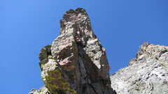 Rock Climbing Photo: Pitch 5. Up cracks, when they end move left around...