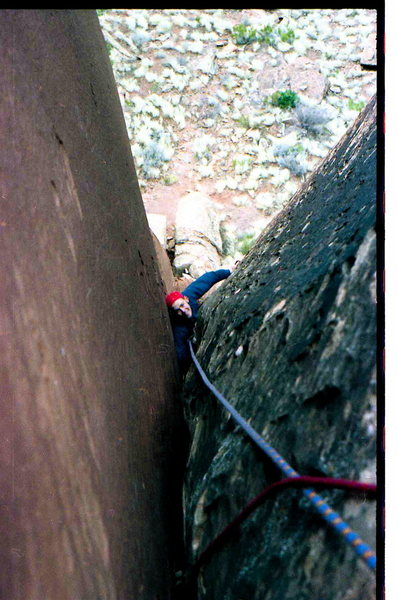 Rock Climbing Photo: Me on one of our routes out there.