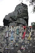 Rock Climbing Photo: Gear used on Son of Great Chimney Direct.  Piton, ...