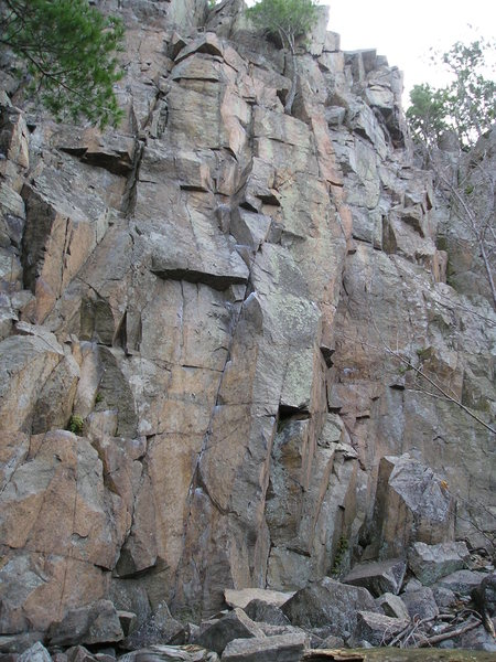 Rock Climbing Photo: Sidewinder is  left side of center, small overhang...