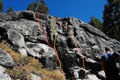 Rock Climbing Photo: Stand and Fall (red), No Control (yellow), Blackou...