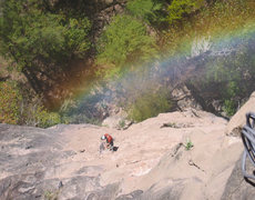 Rock Climbing Photo: Rainbow on the top of the first pitch, Subiendo el...
