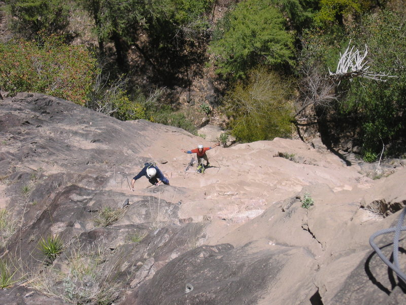 Peter Baumeister and Lucas Laeser on the second pitch of Subiendo El Arcoiris