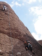 Rock Climbing Photo: Better view of the top of the pitch.  Friend Annie...