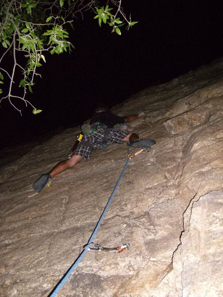 Rock Climbing Photo: Jeff grabbing some moonlight.