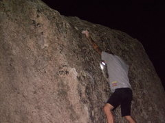 Rock Climbing Photo: Pulling late at night...Nearing the top.