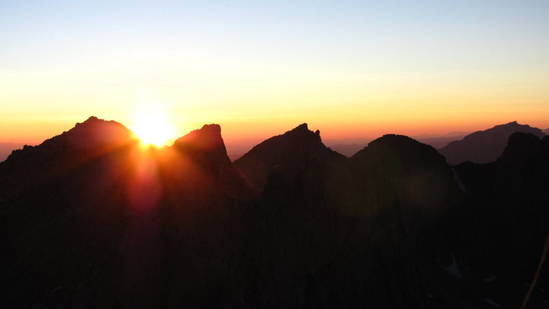 sunset from the top of the feather buttress / warbonnet