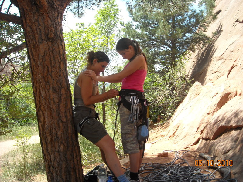 Rock Climbing Photo: getting her ready