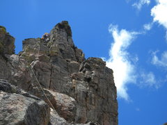 Rock Climbing Photo: Cor leading the last pitch of piton d'or on The Pi...