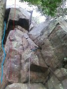 Rock Climbing Photo: Blue BTC, Red AAA, Rope Wolf Dog 5.7