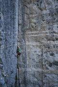 Rock Climbing Photo: S. Davis liebacks up Peaceful Warrior. photo by S....
