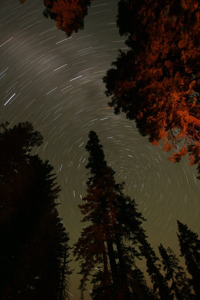 Rock Climbing Photo: Campfire and star trails. photo by S. Giffin