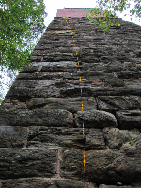 Frankenstein climbs the right side of the bolted line. The arete is off.