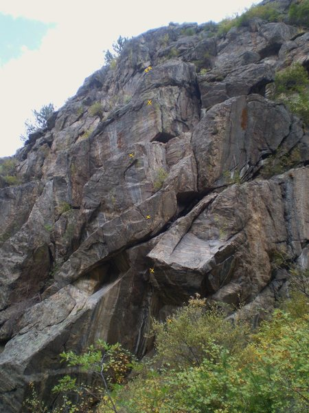 Far left side of cliff with On Line Trading, ~5-6 bolts, 2 bolt anchor.
