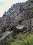 Rock Climbing Photo: Far left side of cliff with On Line Trading, ~5-6 ...