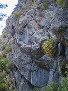 Rock Climbing Photo: Right side of cliff with:  H. On the Margin, 10. I...