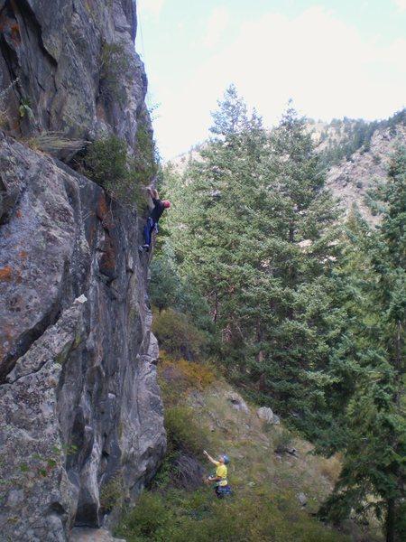 Rock Climbing Photo: Deb Thompson belayed by Deb Rolfson on good rock.