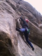 Rock Climbing Photo: Deb at the start of the difficulties.  Note the ri...
