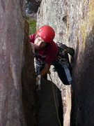 Rock Climbing Photo: Wide crack action on pitch 2.