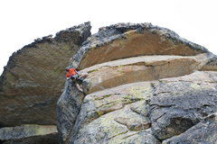 Rock Climbing Photo: Getting ready to pull the big roof on 'Double Shot...