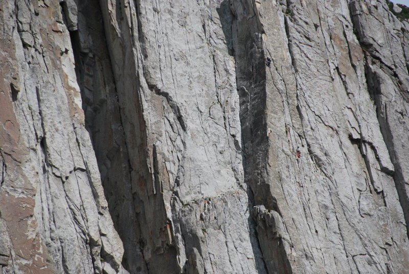 Rock Climbing Photo: my borther climbing the 4th pitch a little bit bel...