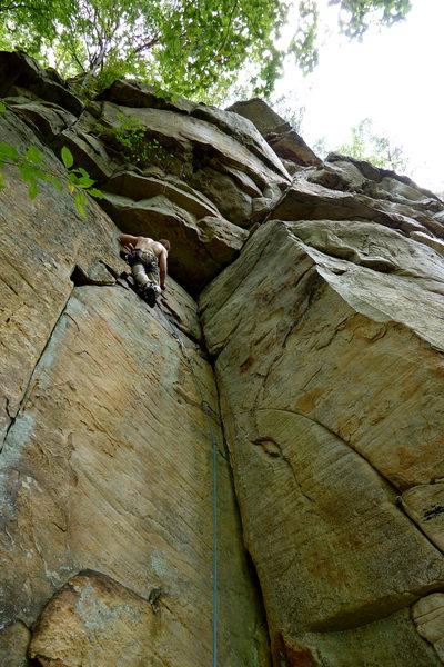 Rock Climbing Photo: Mike on Broken Arrow, Sunset Park, TN