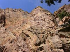 Rock Climbing Photo: Near the top.  Friday's Folly on the left skyline,...