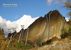 Rock Climbing Photo: Picture topo of the upper West Face of Machete Rid...