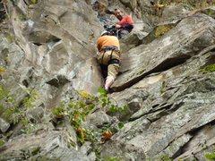 Rock Climbing Photo: Shaun Coe following on the FA of Child Abuse. Jim ...
