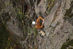 Rock Climbing Photo: Shaun Coe following the fa of Child Abuse Jeff Tho...