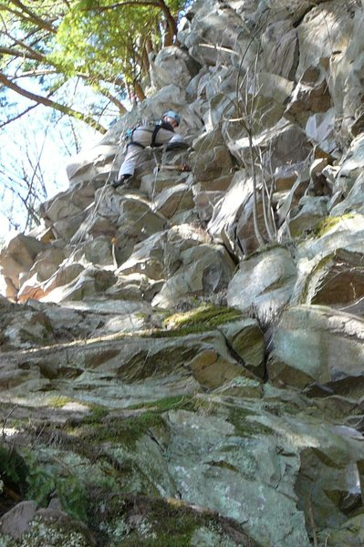 Rock Climbing Photo: Kyle Silverman leading the FA of MJ08