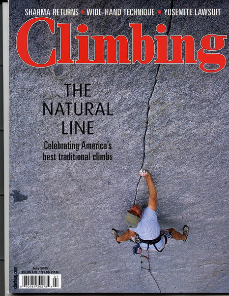 I found a larger pic of the Climbing Magazine July 2005.  It's tough to make anything out in the other one.<br> <br> From Climbing Magazine: <br> <br> Editor's note: Despite the fact that three of our staff members have done Serenity Crack, and one learned to climb with Palais, the cover subject, we still missed this captioning mix-up. The cover of the July issue is indeed Green Adjective, 5.9.