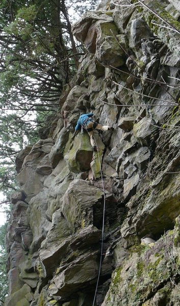Rock Climbing Photo: Bill Coe leading the FA of the Trembling (Kenny Al...