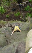 Rock Climbing Photo: Ujahn Davisson leading the FA of Introductory Offe...