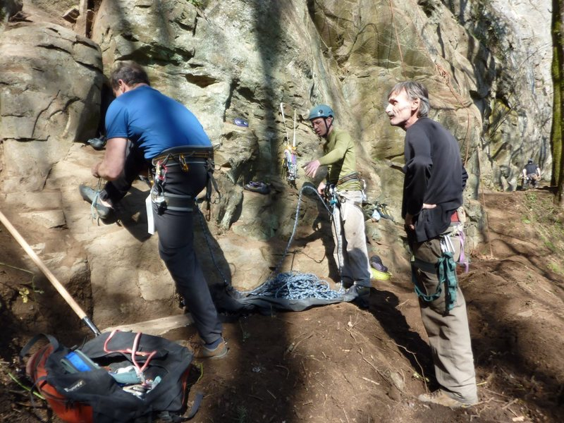 Rock Climbing Photo: Bill Coe lacing up for the FA while Kyle Silverman...