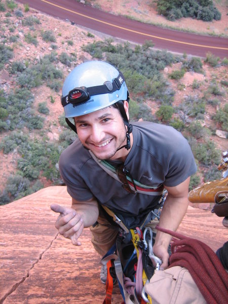 Top of the 3rd pitch of Touchstone at Zion NP.