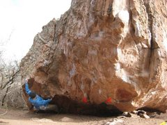 Rock Climbing Photo: Start where this guy's right hand is.  Move right ...