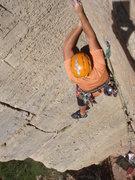 Rock Climbing Photo: Dave Wayne leading Crynoid Corner.  Photo by Buste...