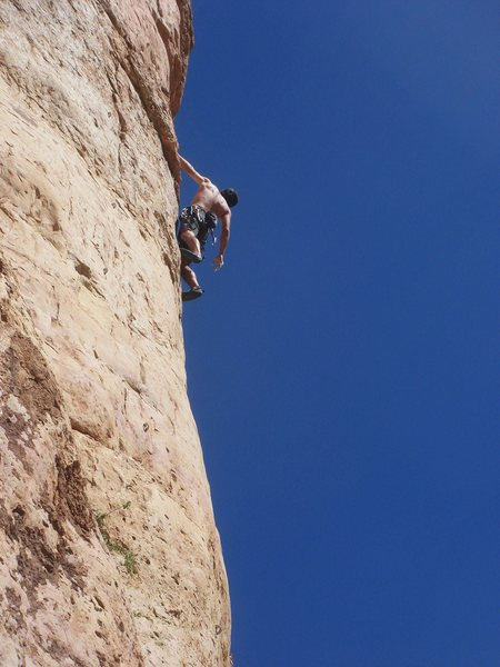 Rock Climbing Photo: Buster Jesik scoping the upper moves.